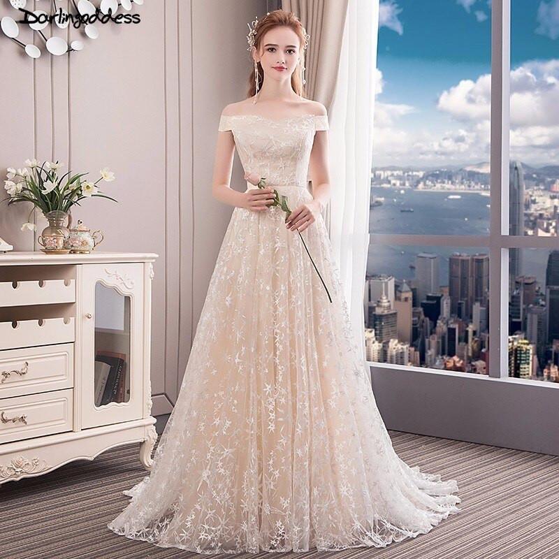 Champagne Wedding Gowns  Champagne Wedding Dress Beach 2018 Cap Sleeve Lace Boho