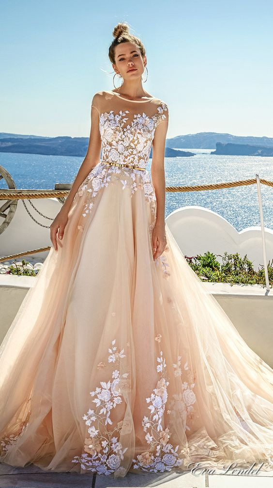Champagne Wedding Gowns  Picture a champagne wedding dress with an illusion