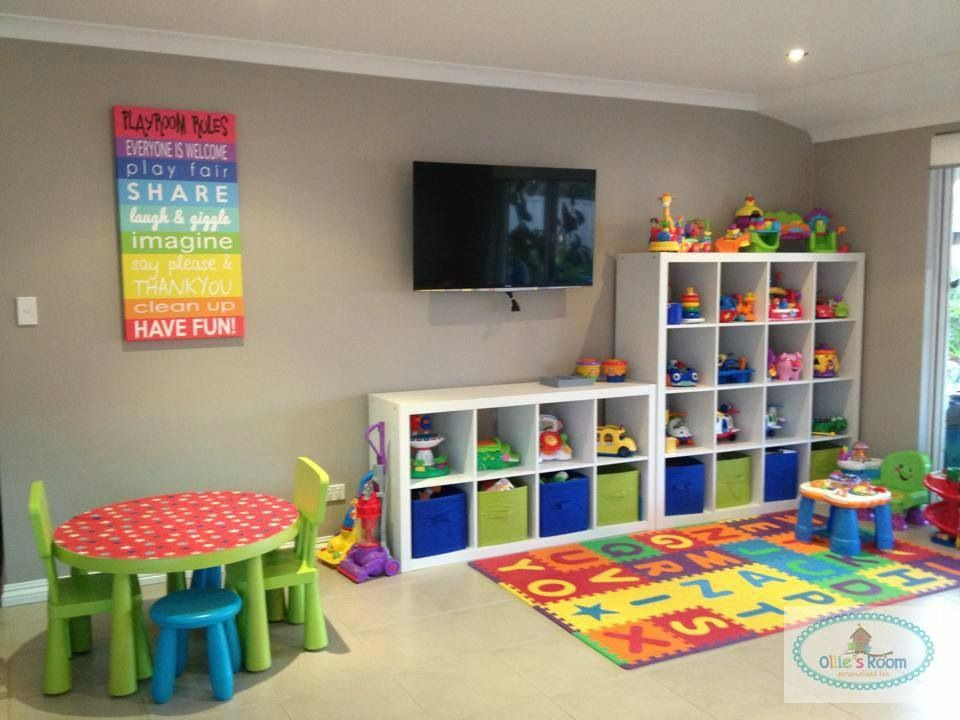 Cheap Organizing Ideas For Kids Rooms  Awesome playroom cheap colourful organised open Love