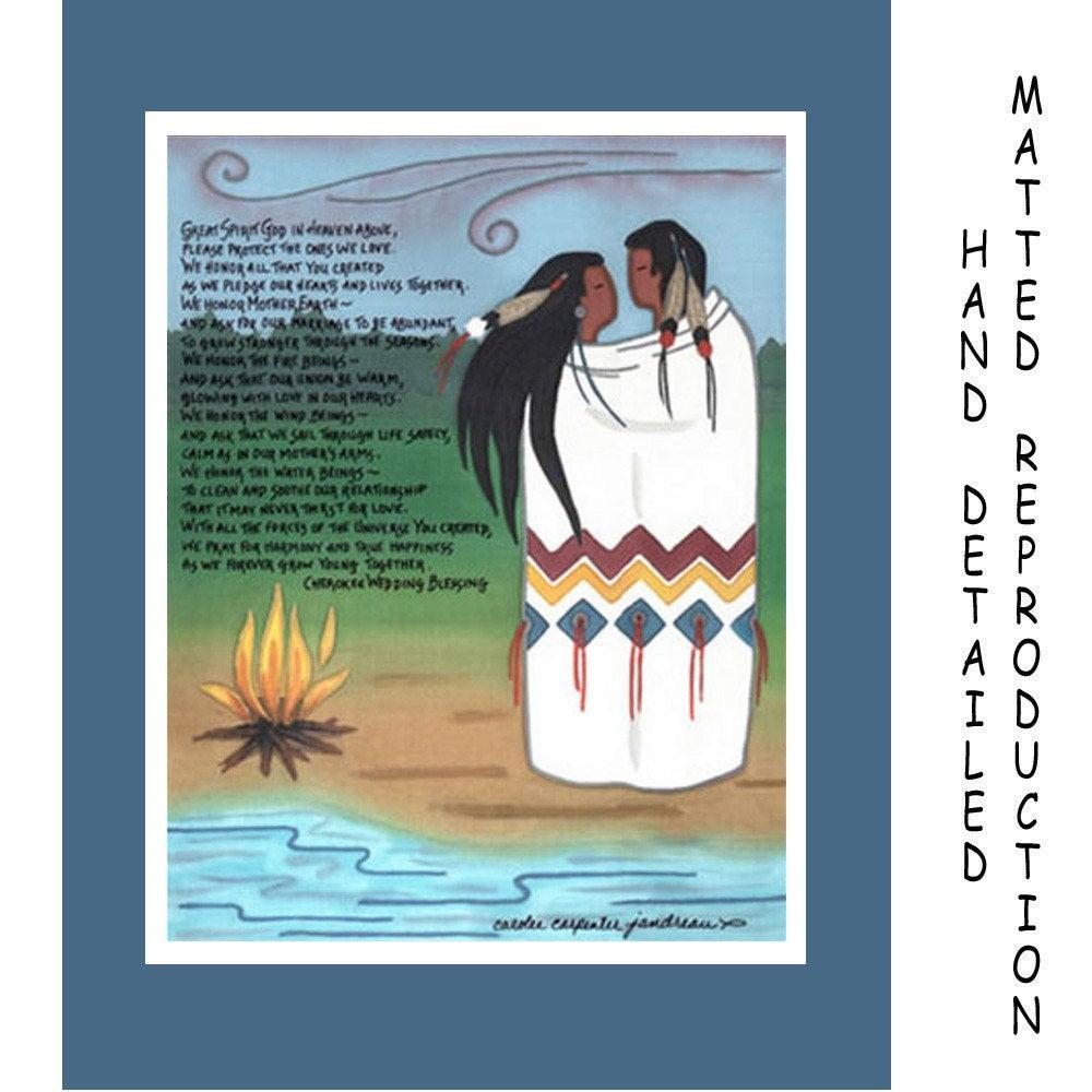 Cherokee Wedding Vows  Cherokee Wedding Blessing 8x10 Dye Painting Print on 11x14