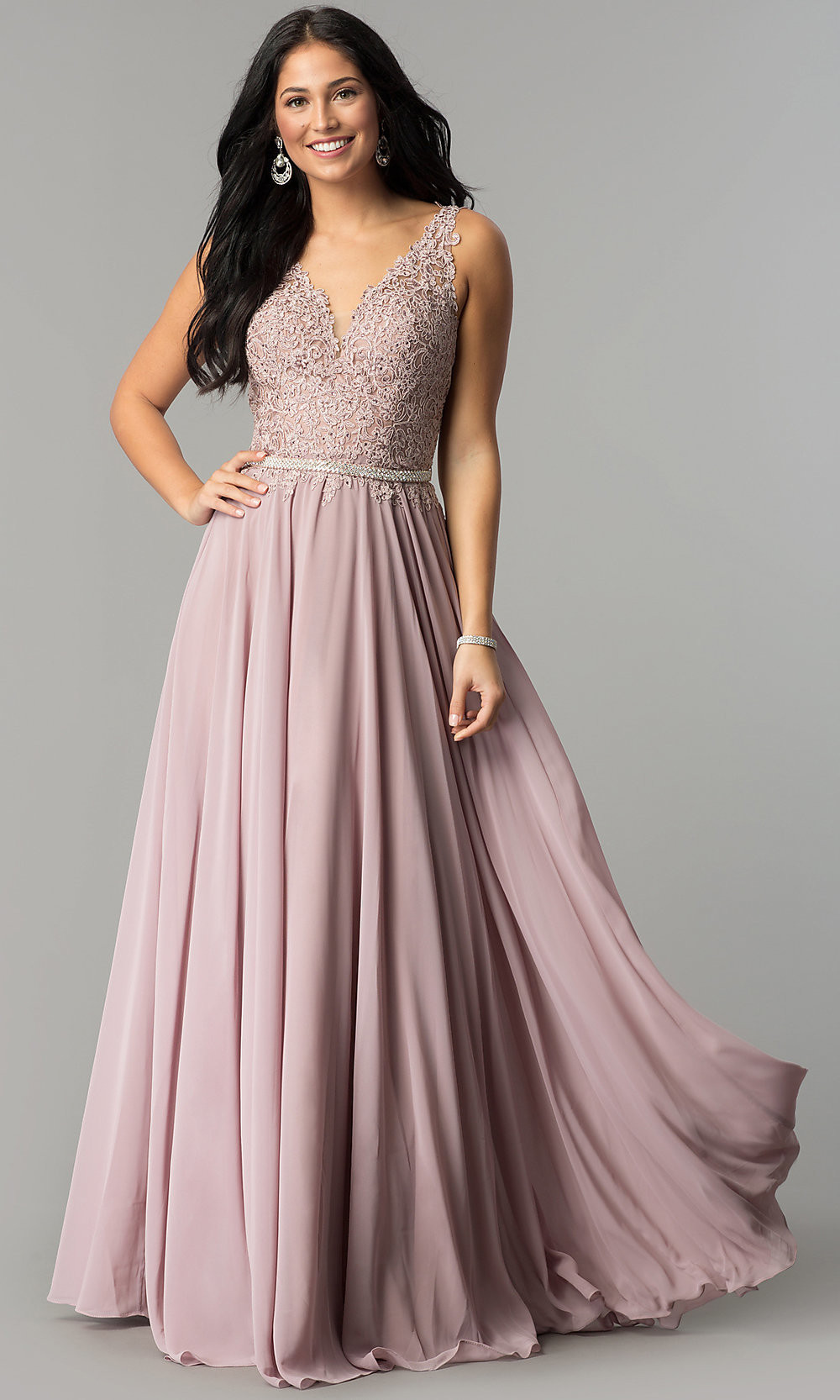 Chiffon Wedding Gown  Chiffon Long Wedding Guest Dress with Embroidered Lace