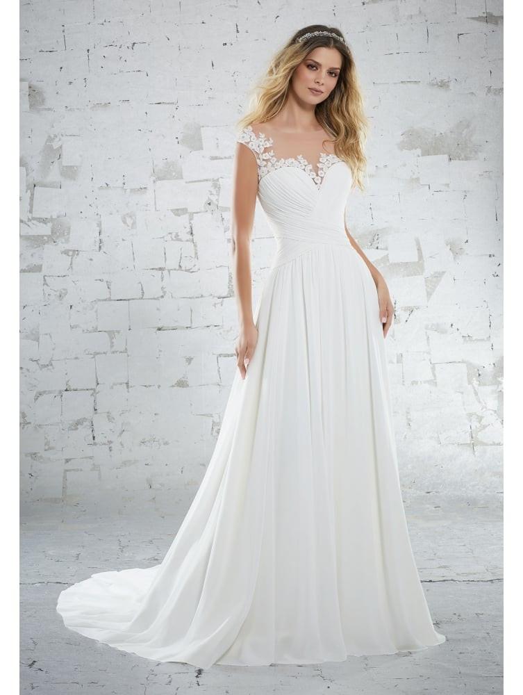 Chiffon Wedding Gown  Mori Lee 6885 Kamella Delicate Chiffon Wedding Dress Ivory