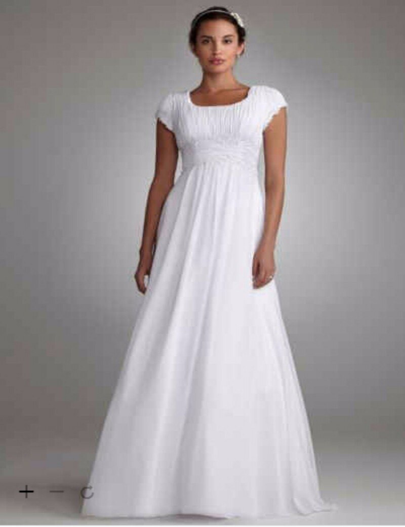 Chiffon Wedding Gown  Custom Made 2016 New Free Shipping Short Sleeved Empire