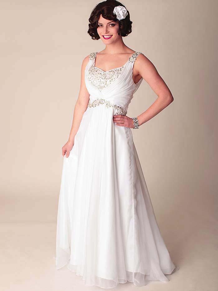 Chiffon Wedding Gown  Draped White Chiffon Wedding Dress Vintage Inspired Bridal