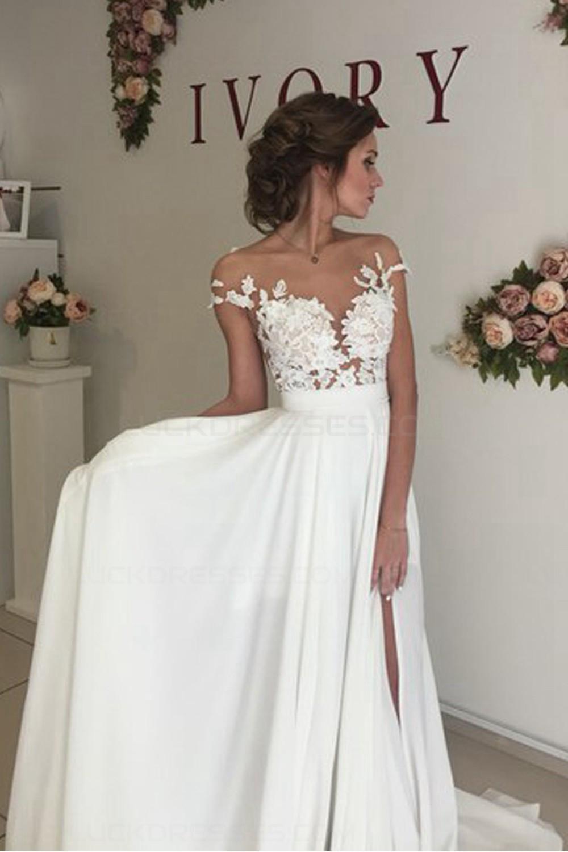 Chiffon Wedding Gown  Elegant Illusion Bodice Lace Chiffon Wedding Dresses