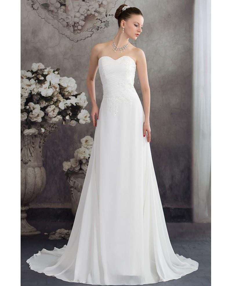 Chiffon Wedding Gown  Simple Aline Chiffon Sweetheart Beach Wedding Dress