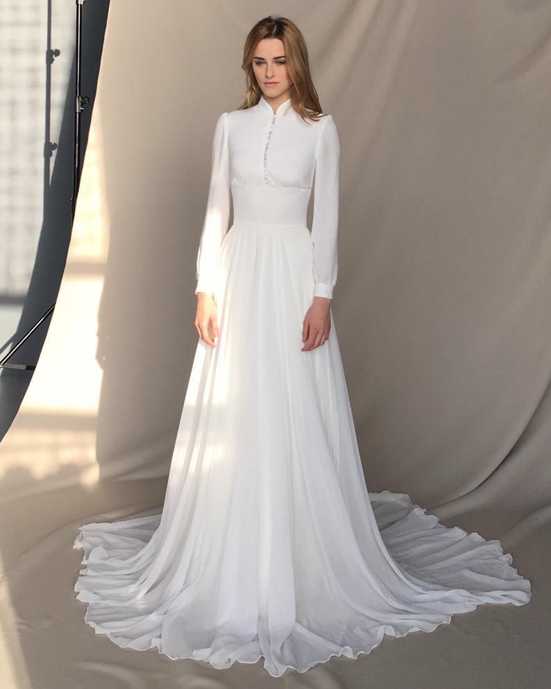 Chiffon Wedding Gown  Long sleeve wedding dress Chiffon wedding dress button up