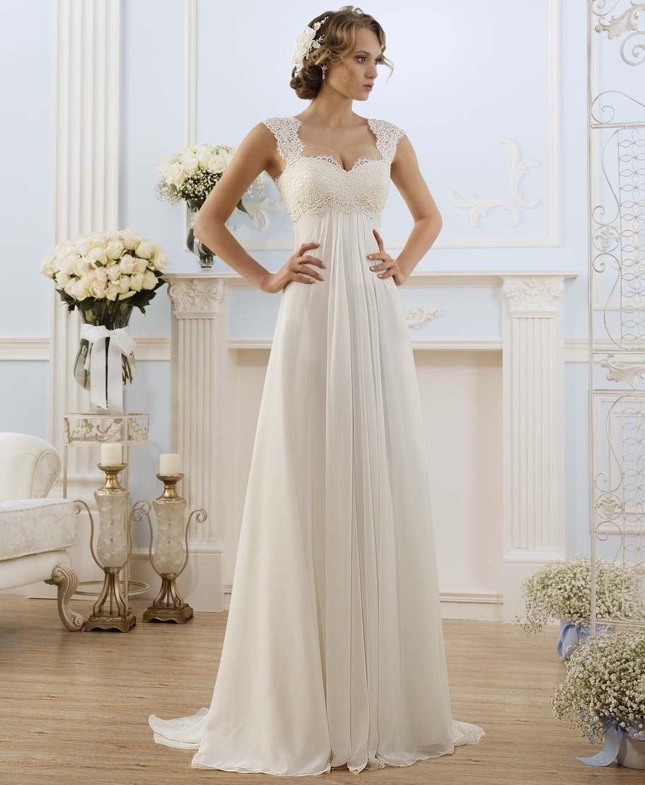 Chiffon Wedding Gown  2016 Empire Lace Wedding Dresses Sweep Train Open Back