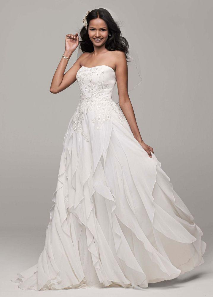 Chiffon Wedding Gown  David s Bridal Strapless A Line Chiffon Wedding Dress with