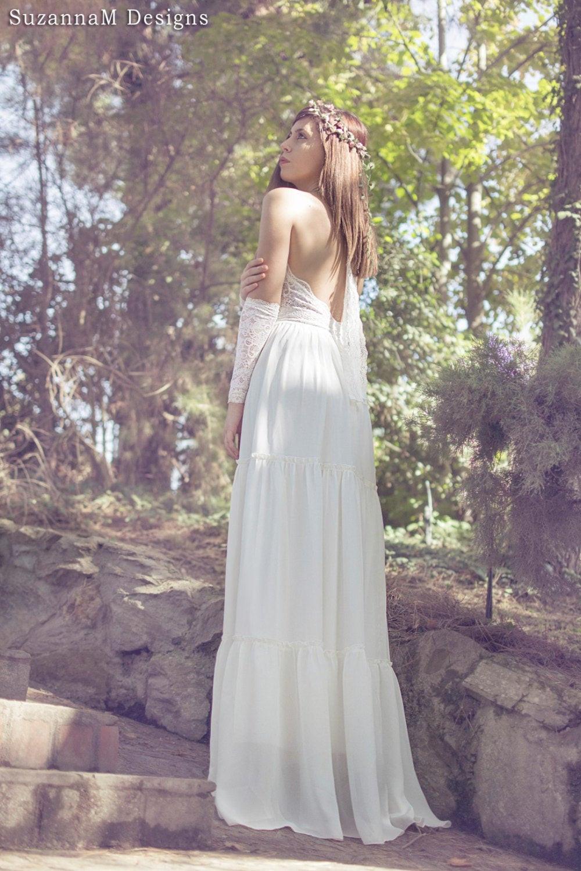 Chiffon Wedding Gown  Lace and Chiffon Vintage Wedding Dress Ivory Bridal Long Gown