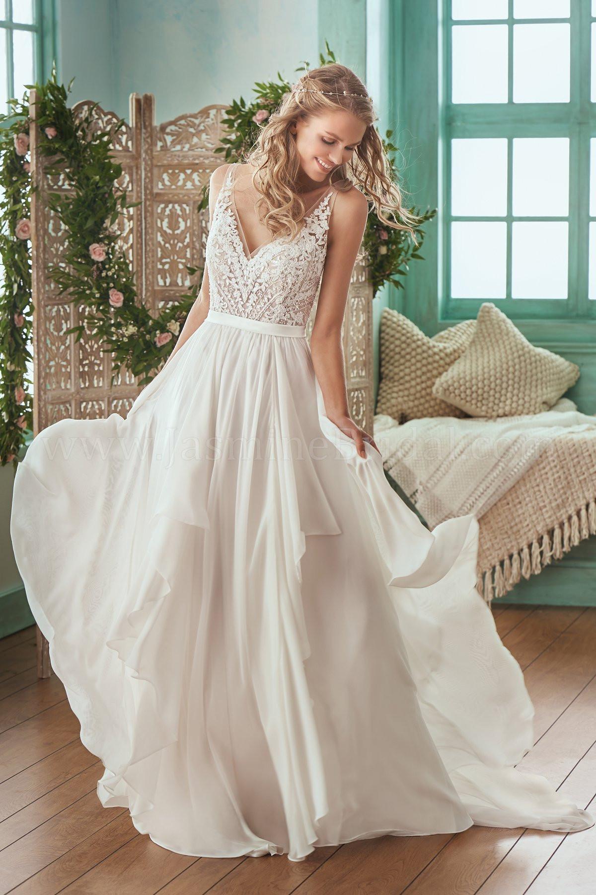 Chiffon Wedding Gown  F Illusion Bodice V neck Lace & Chiffon Wedding Dress
