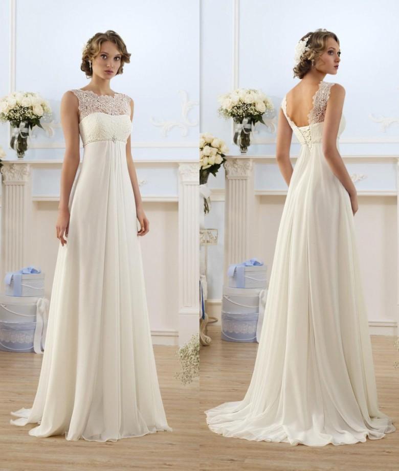 Chiffon Wedding Gown  Lace Chiffon Empire Wedding Dresses 2017 Sheer Neck Capped