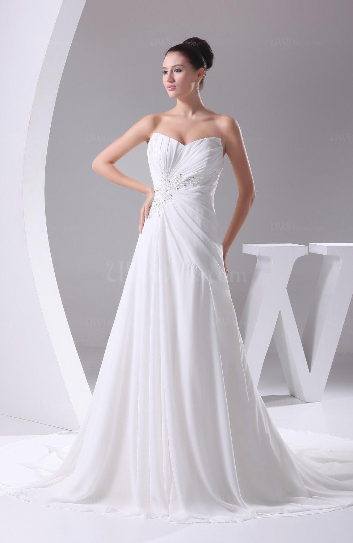Chiffon Wedding Gown  White Elegant Hall A line Sweetheart Sleeveless Chiffon