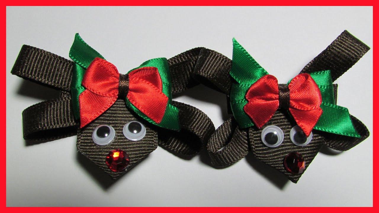 Christmas Bow DIY  DIY How to make Christmas Hair Bow Clips No 1 Reindeer