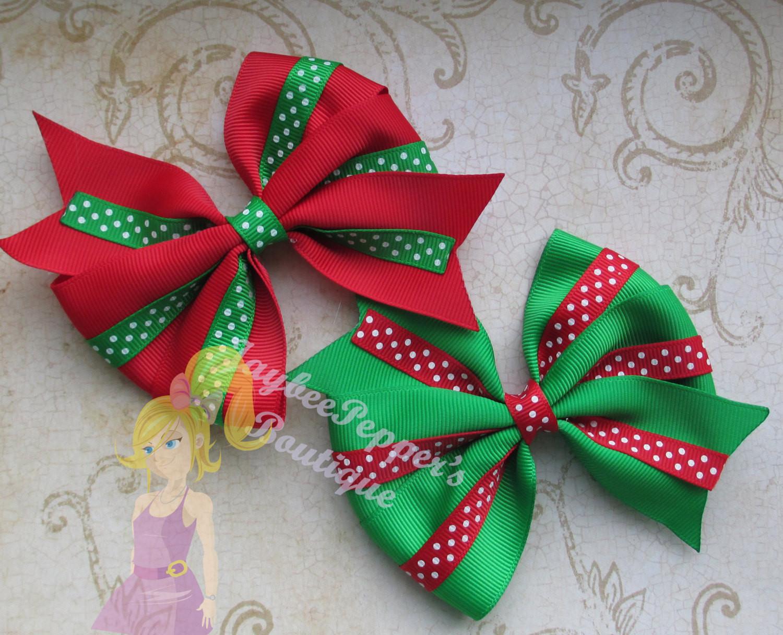 Christmas Bow DIY  Christmas Hair bow 4 Pinwheel hair clip polka dots by