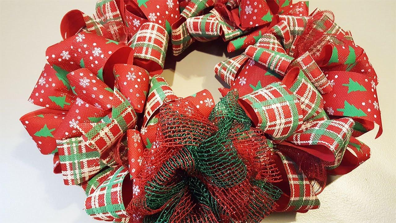Christmas Bow DIY  Dollar Tree Christmas Bow Wreath
