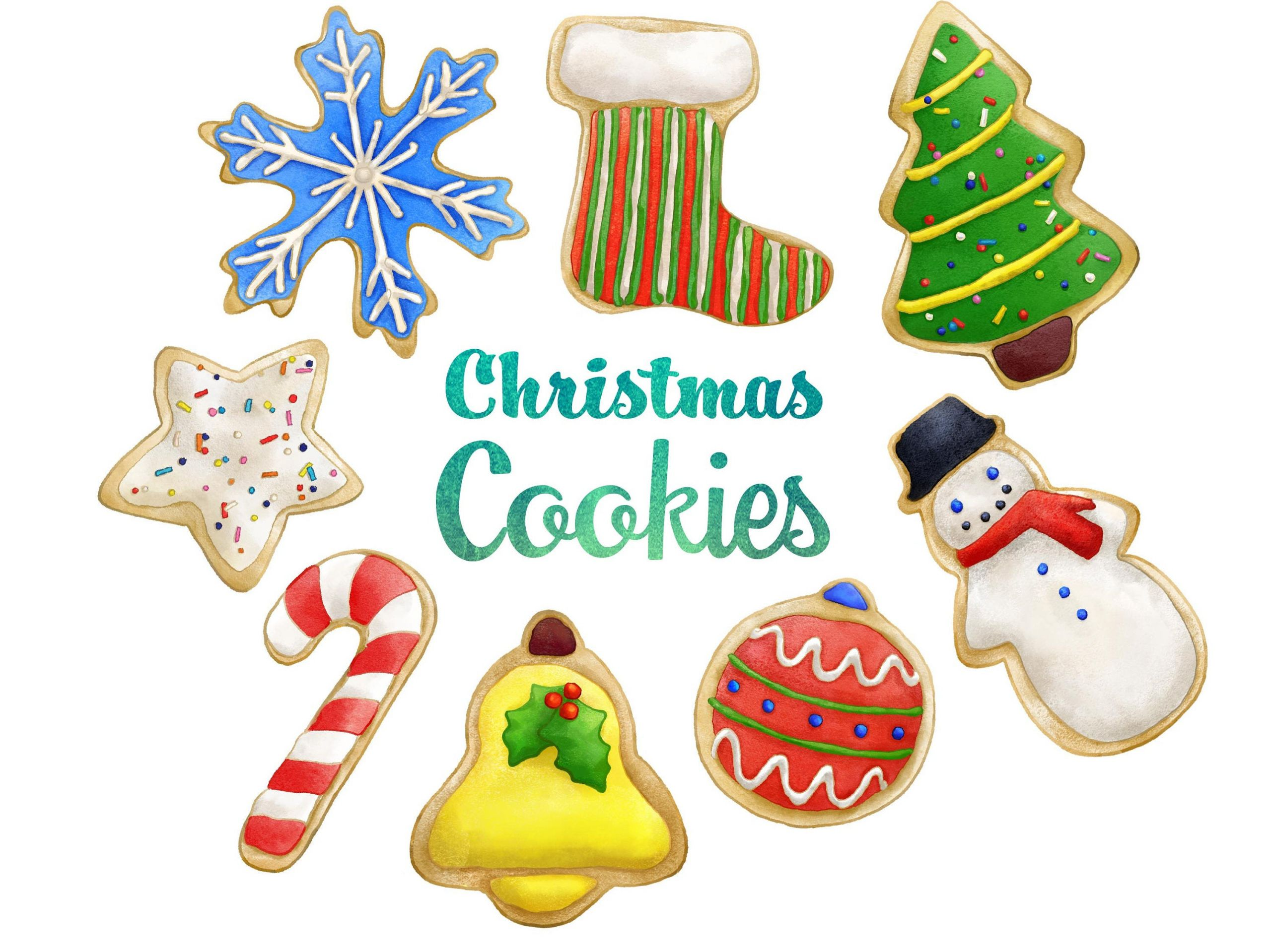 Christmas Cookies Clipart  Christmas Cookies Clipart Instant Digital Download Sugar