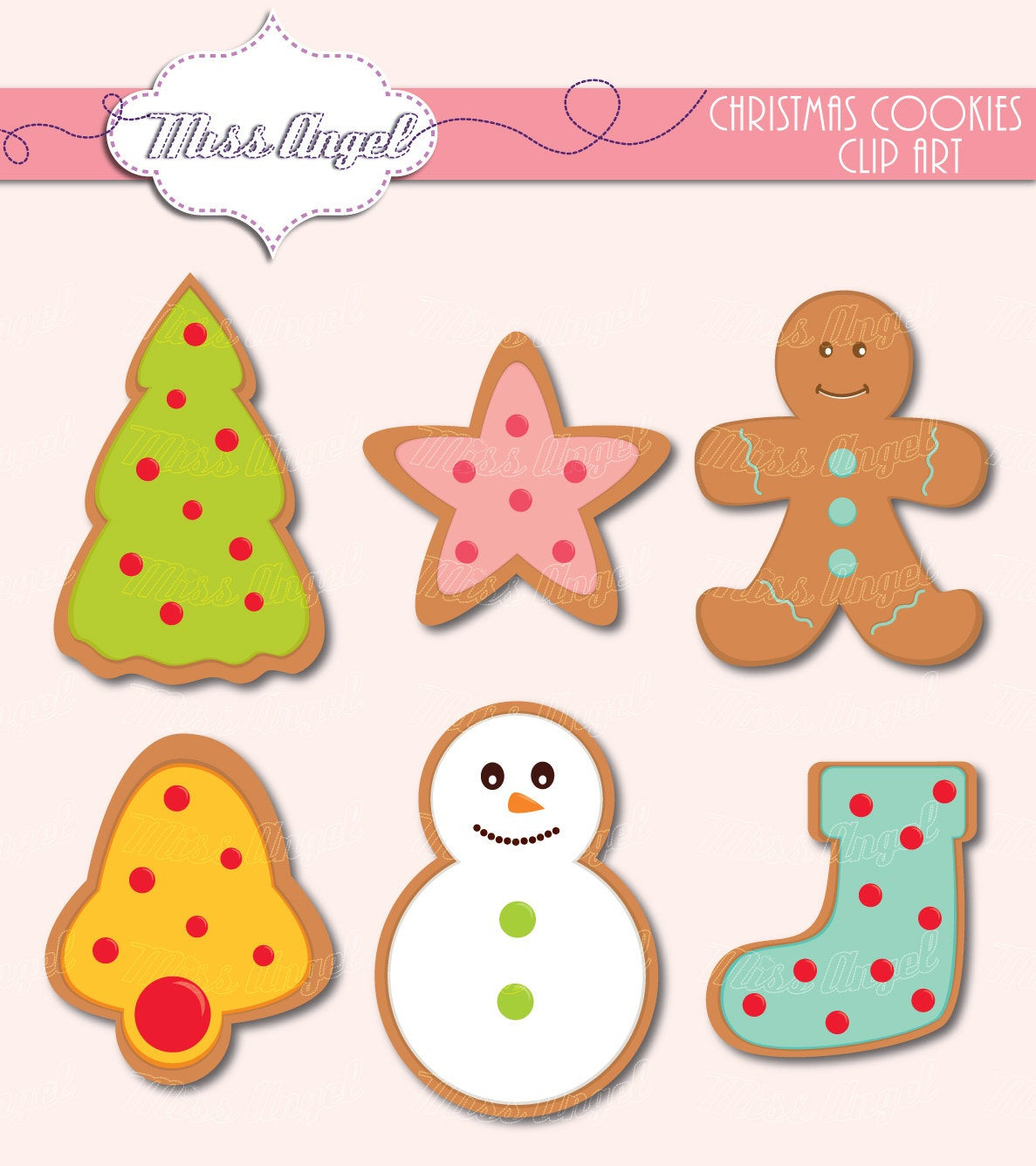 Christmas Cookies Clipart  Christmas Cookies Clip Art 6 Digital Xmas Clipart 6