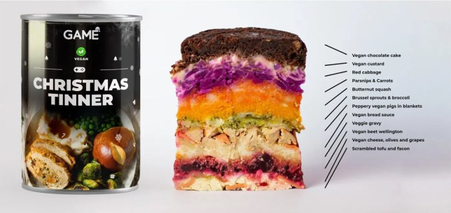 Christmas Dinner In A Can  This Vegan Christmas Tinner packs three courses into a