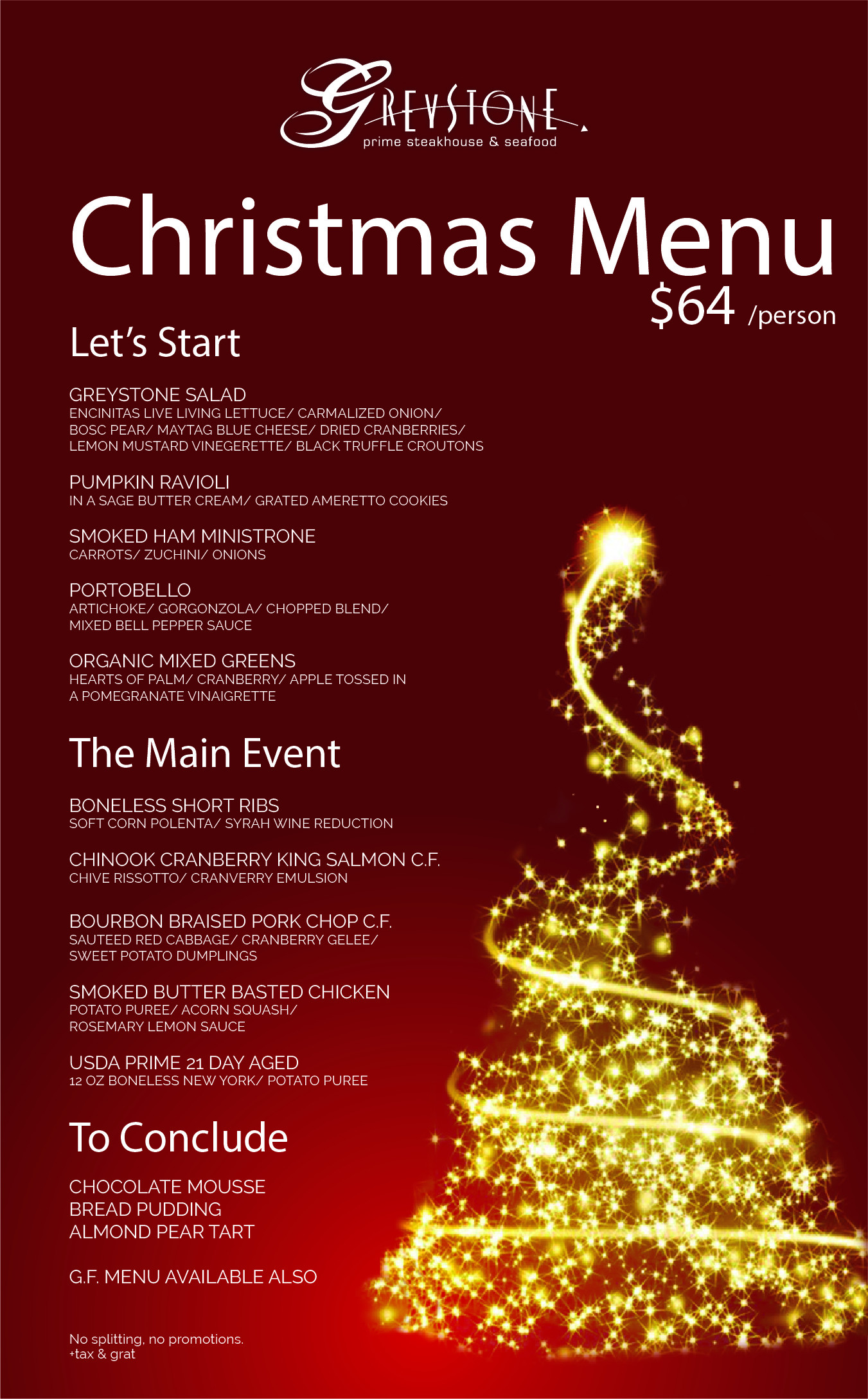 Christmas Dinner San Diego 2020  For group reservations larger than 8 guests please email