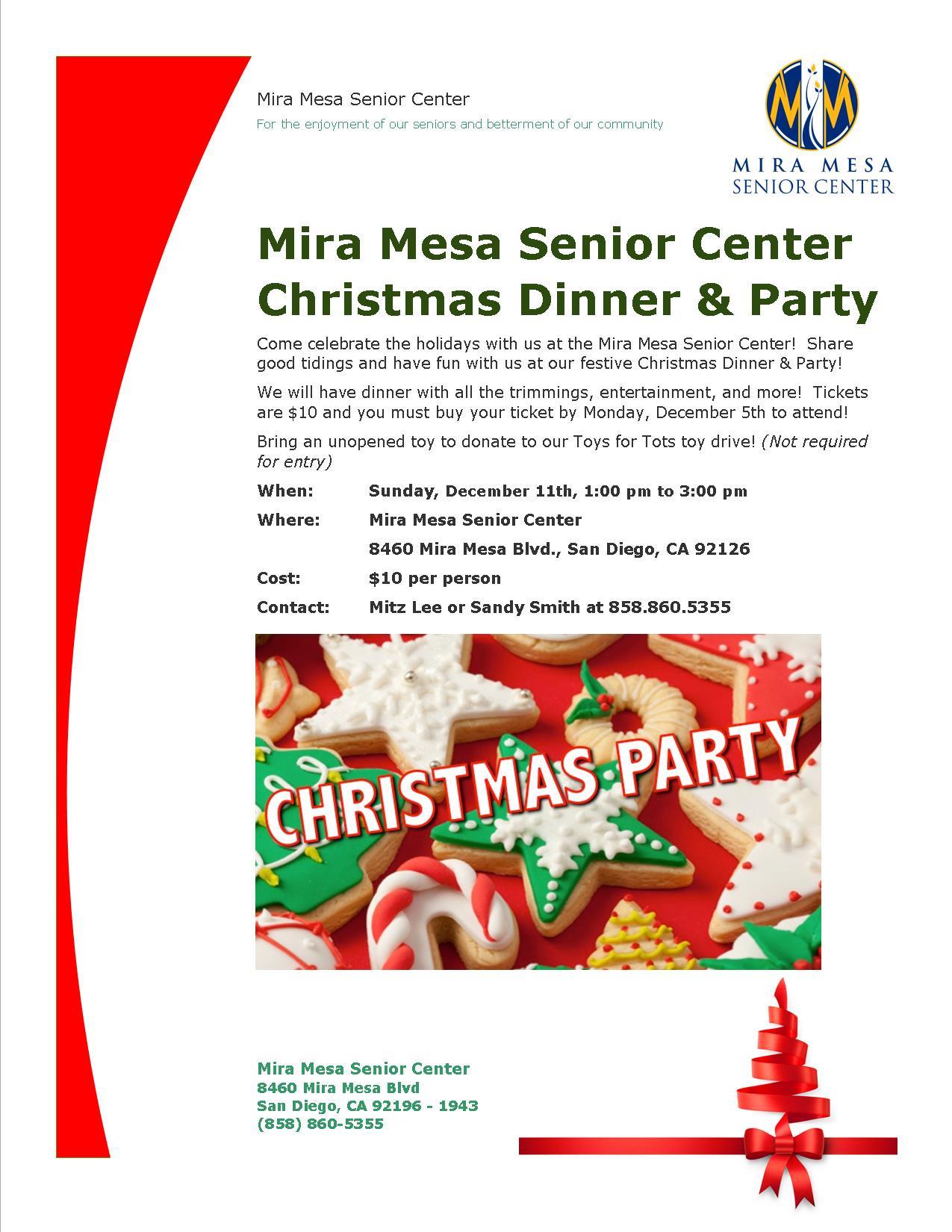 Christmas Dinner San Diego 2020  Mira Mesa Senior Center Christmas Party