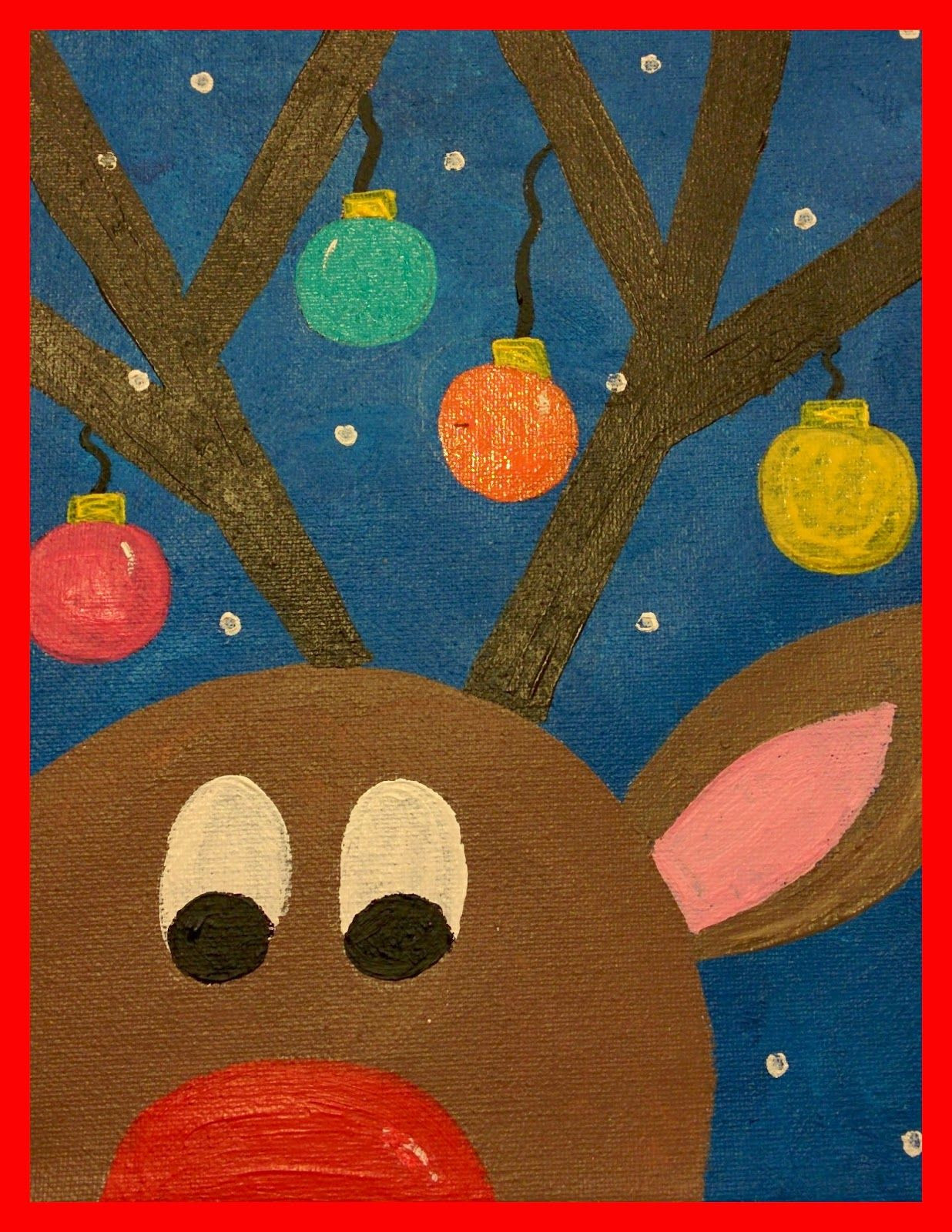 Christmas Painting Ideas For Kids  Guided Art Reindeer on Canvas
