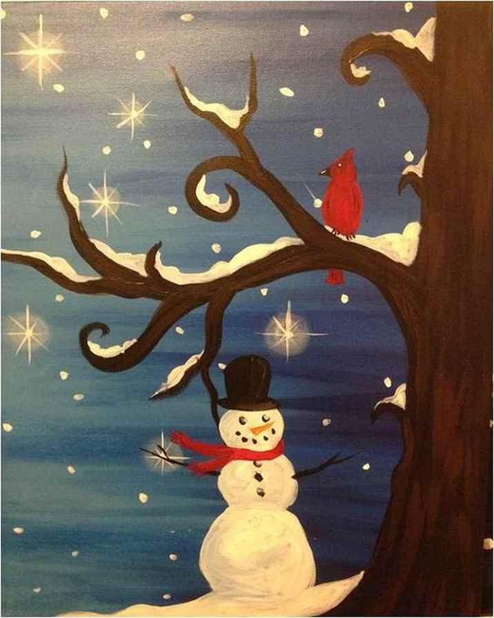 Christmas Painting Ideas For Kids  Christmas Paintings Canvas Easy Ideas In Home 26