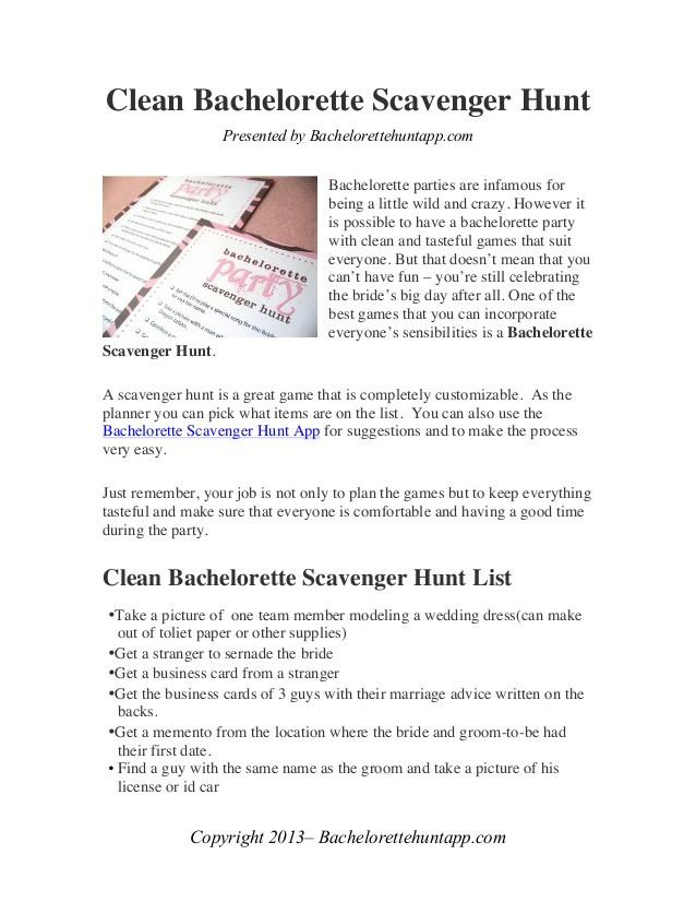 Clean Bachelorette Party Ideas  Clean Bachelorette Party Scavenger Hunt