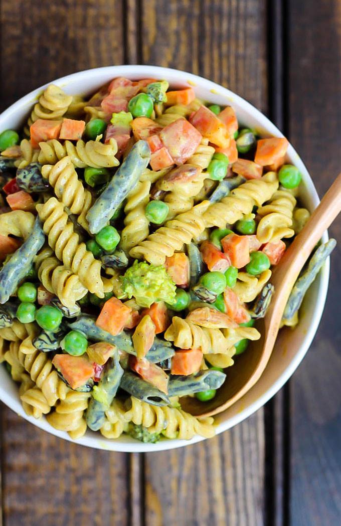 Cold Vegetarian Potluck Recipes  Vegan Curried Pasta Salad – Emilie Eats