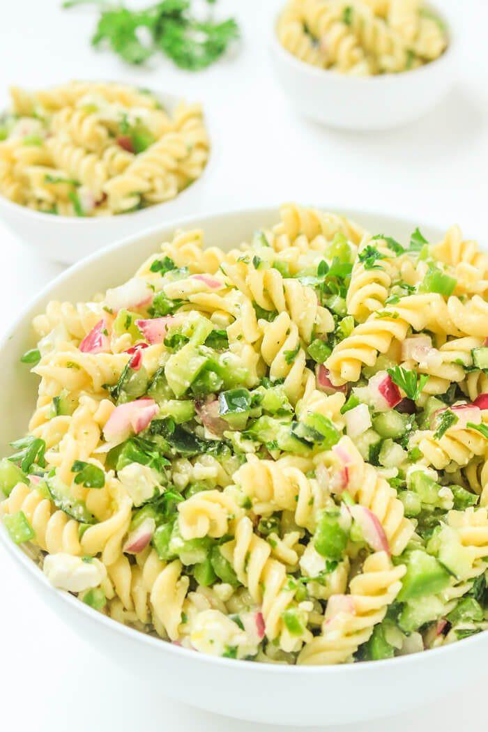 Cold Vegetarian Potluck Recipes  Easy Pasta Salad Recipe With Feta Parsley and Lemon