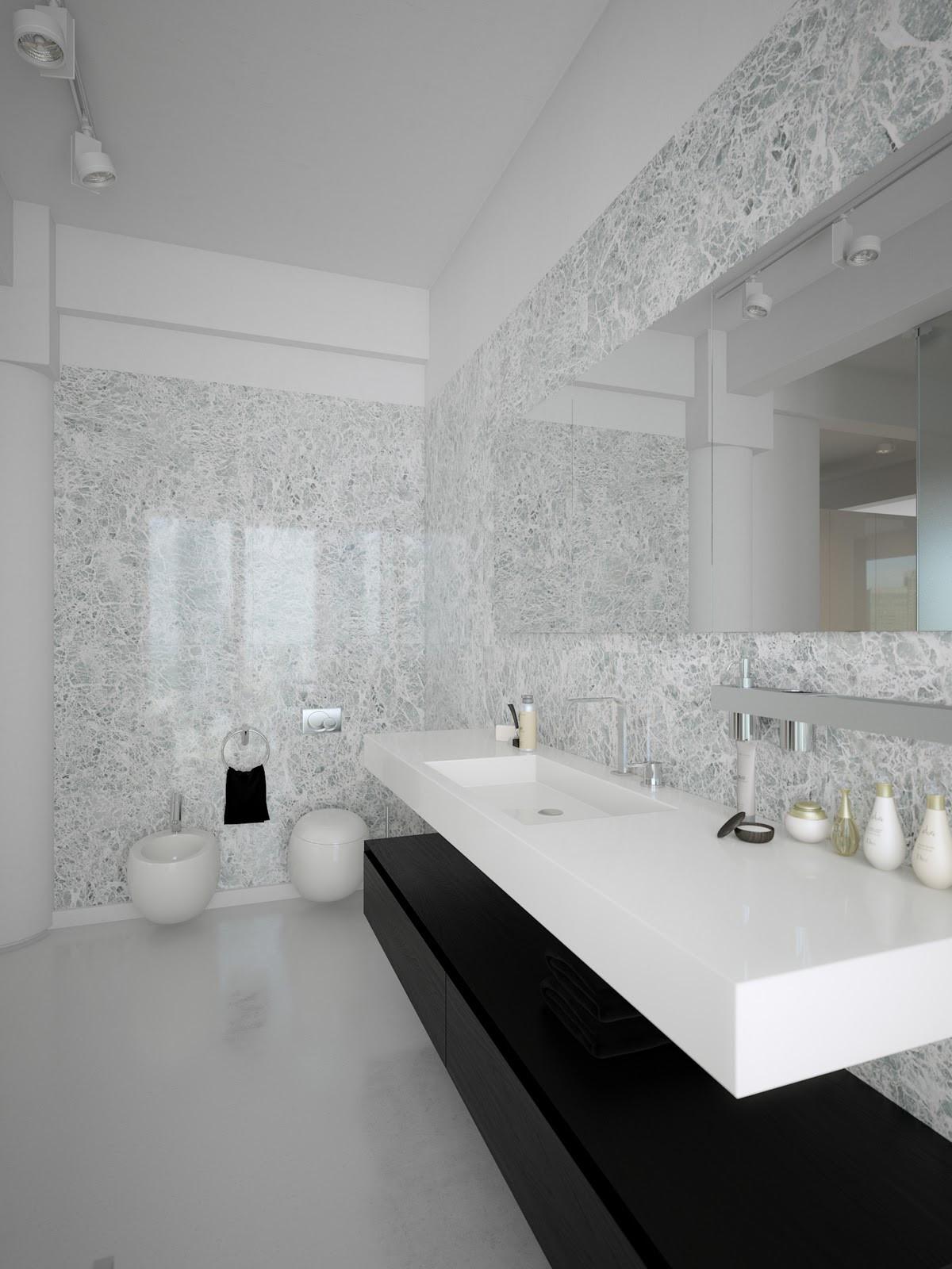 Contemporary Bathroom Design  Modern Minimalist Black and White Lofts