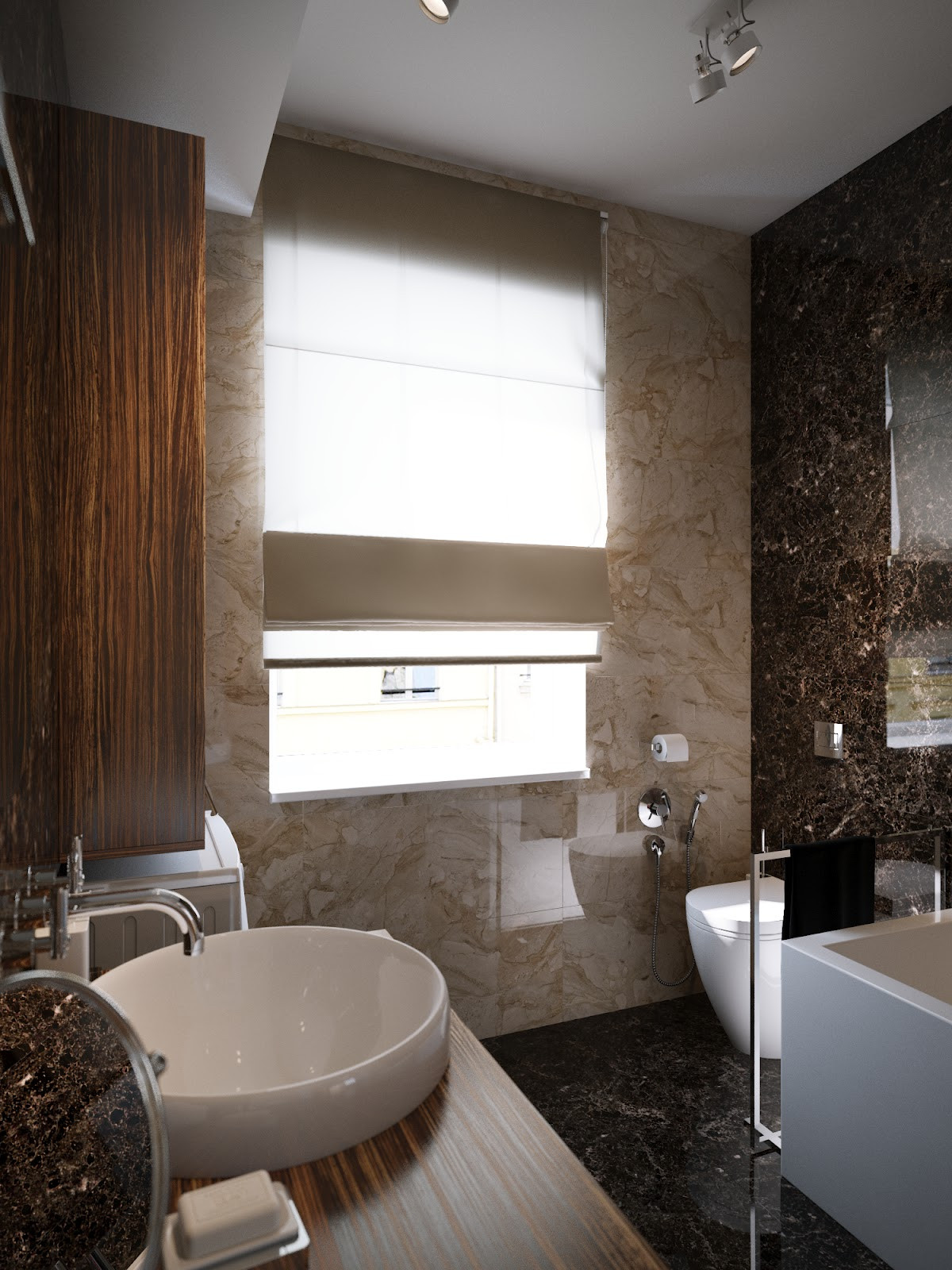 Contemporary Bathroom Design  Modern Red Apartment For A Young Couple [Visualized]