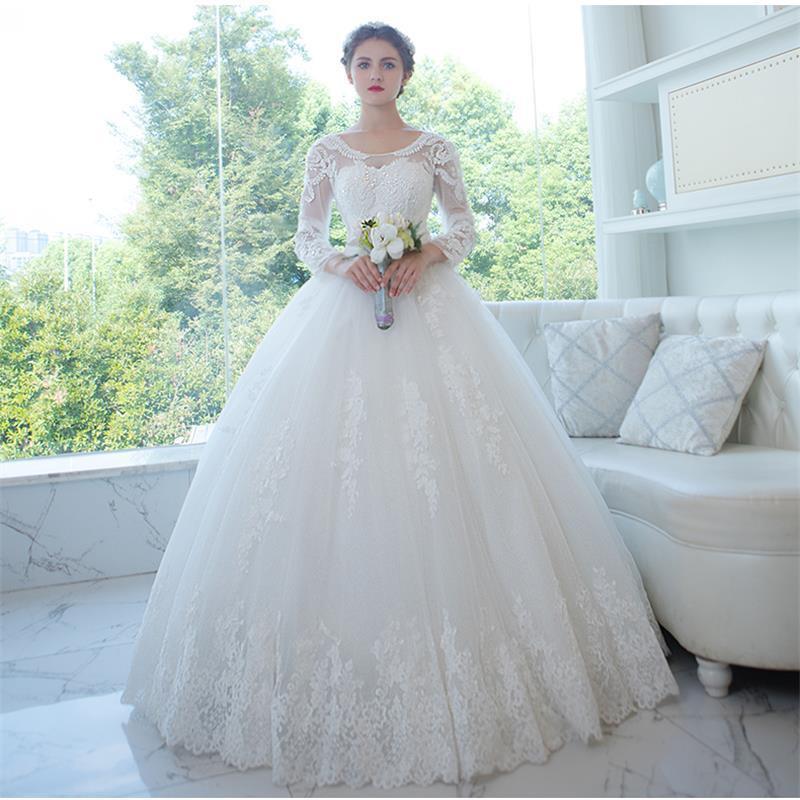 Corset Wedding Gown  2017 Spring New Long Sleeve Wedding Dresses Sheer Scoop