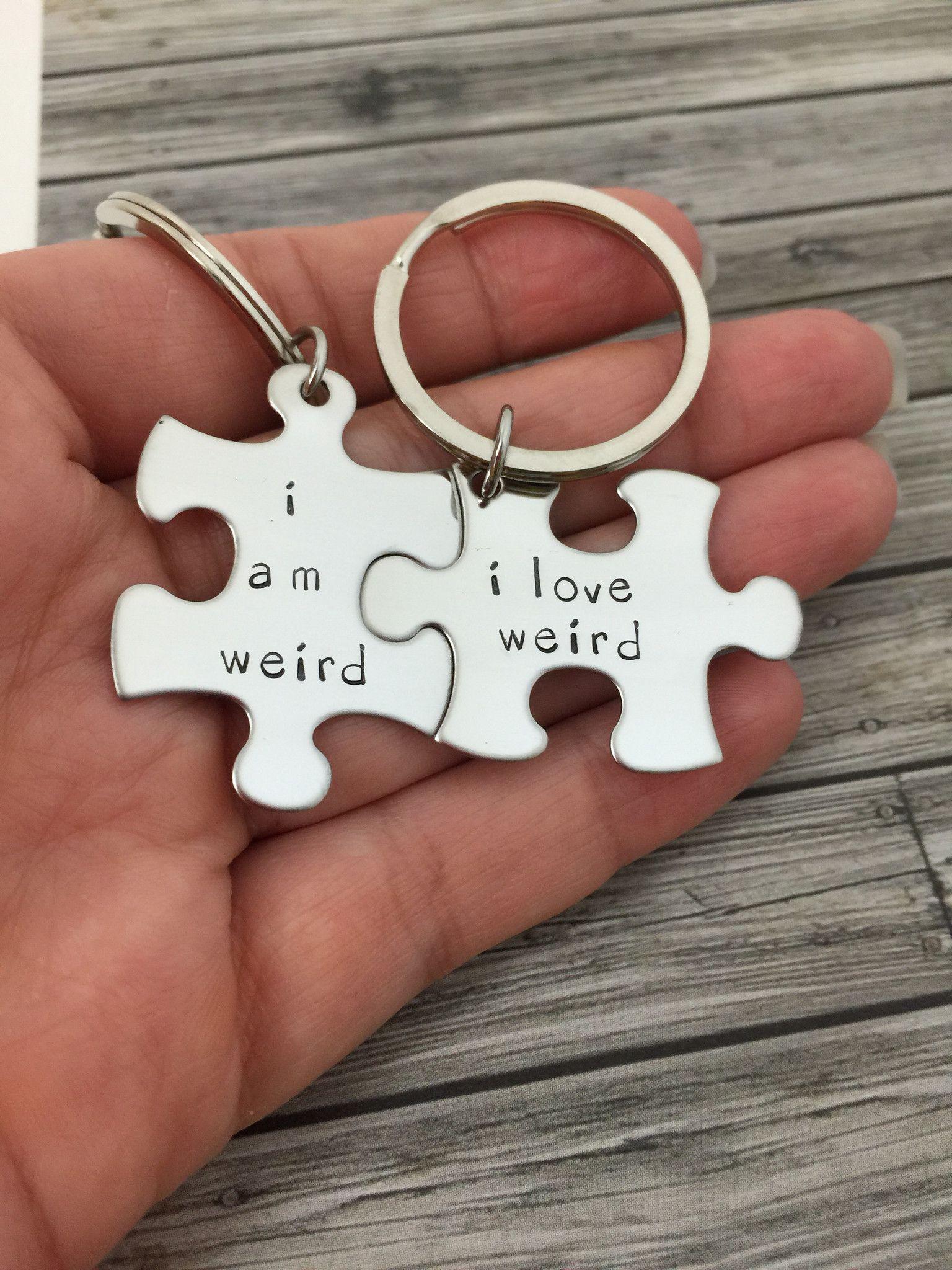 Couples Gag Gift Ideas  I am weird I love weird Couples Keychains Couples Gift