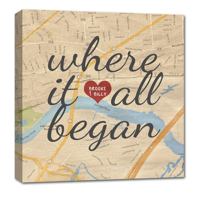 Couples Gift Ideas For Him  Custom Map Canvas Art YOUR Location Where it all began