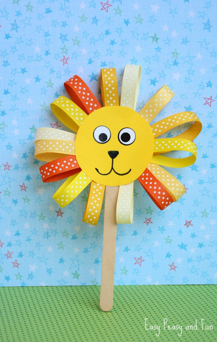 Craft For Kids  Ribbon Lion Puppet Craft Lion Crafts for Kids Easy