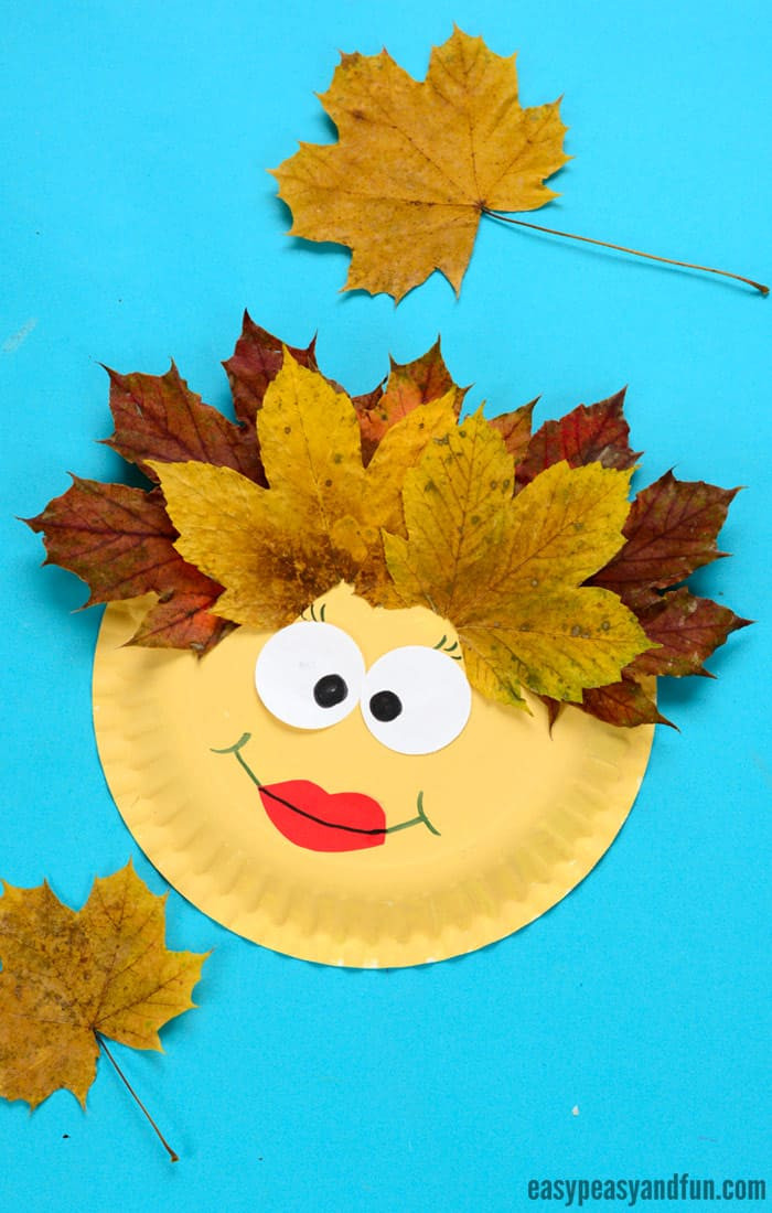 Craft For Kids  Leaf Face Paper Plate Craft Easy Peasy and Fun