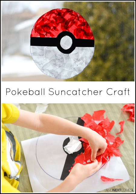 Craft Project For Toddler  Pokeball Suncatcher Pokemon Craft for Kids