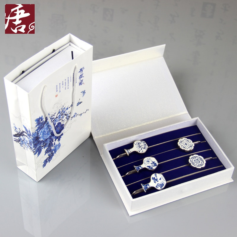 Creative Gift Ideas For Boyfriend  Blue and white porcelain bookmark metal suit creative t