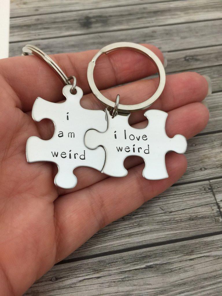Creative Gift Ideas For Couples  I am weird I love weird Couples Keychains Couples Gift