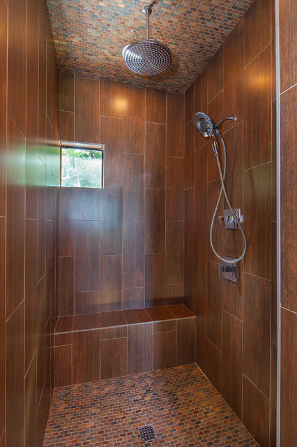 Custom Bathroom Shower  Master shower wood look ceramic tile Lake Travis