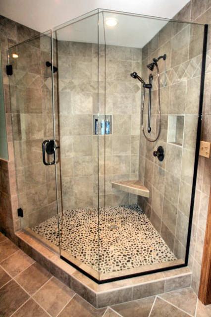 Custom Bathroom Shower  Mequon Custom Tiled Shower Modern Bathroom Milwaukee