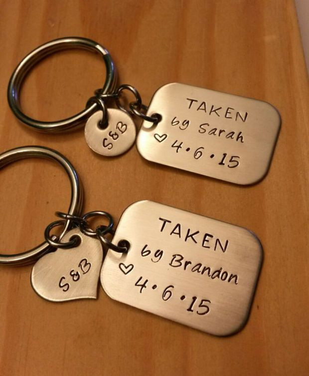Cute Couple Gift Ideas  Hand Stamped Keychain Personalized Keychain Couples