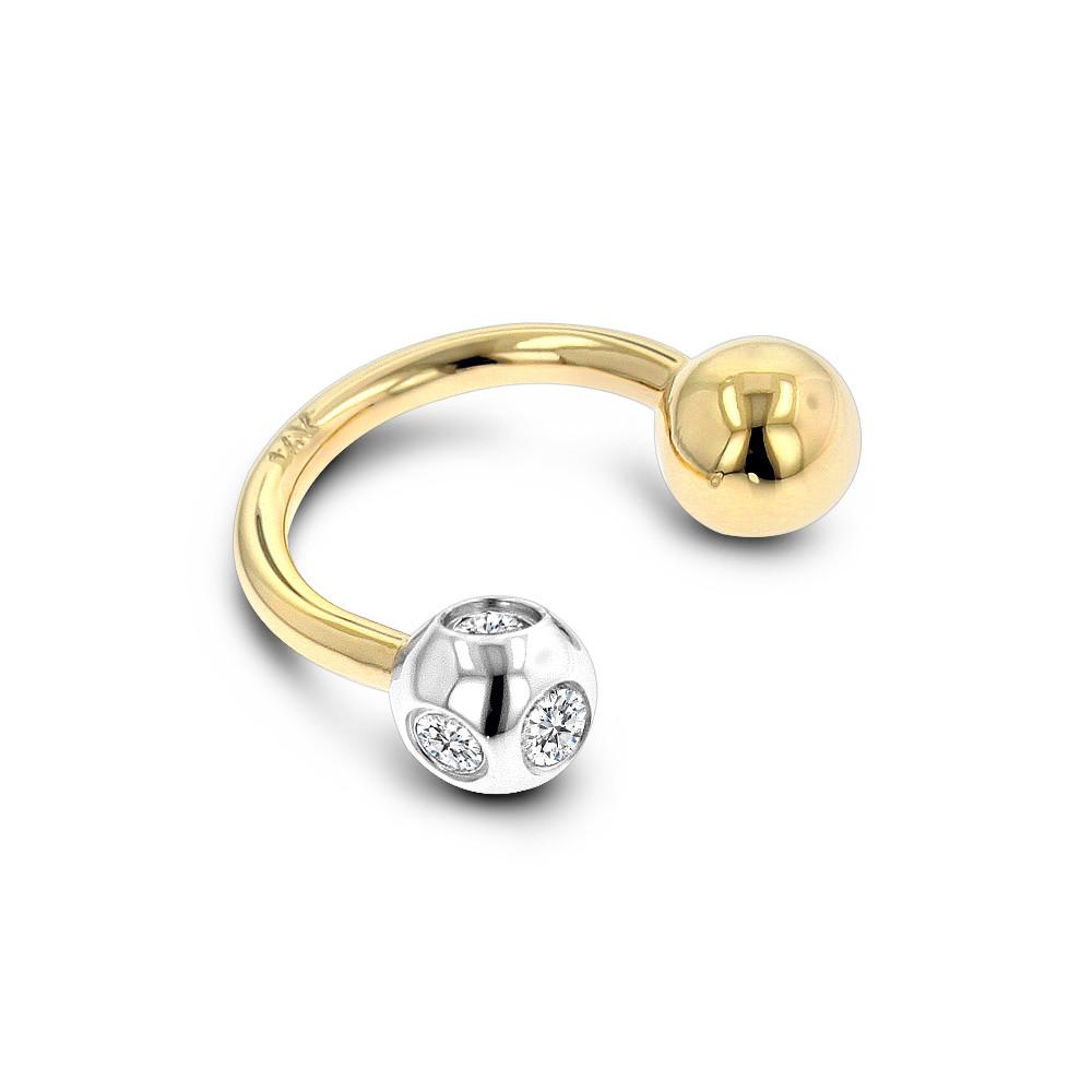 Diamond Body Jewelry  14K Solid Gold Real Diamond Body Jewelry Piece 0 15ct