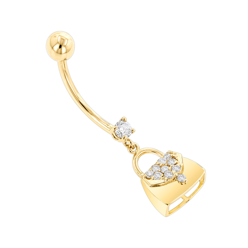 Diamond Body Jewelry  Body Jewelry 14K Gold Diamond Purse Belly Button Ring 0 29