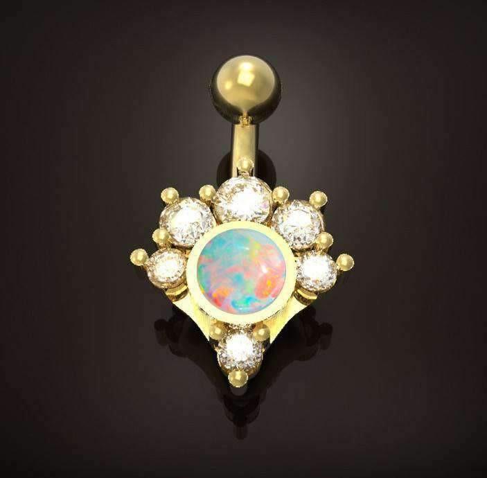Diamond Body Jewelry  Diamond and Opal Cluster Navel Jewelry – BMG Body Jewellery