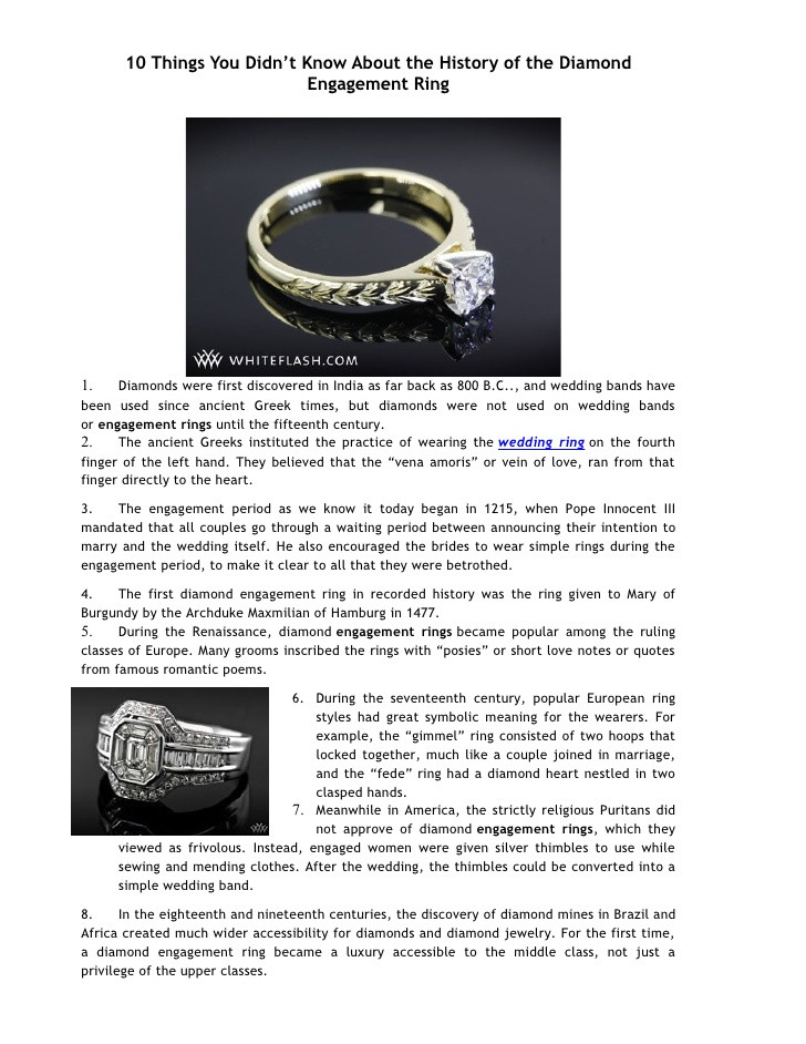 Diamond Engagement Ring History  10 things you didnэээt know about the history of the