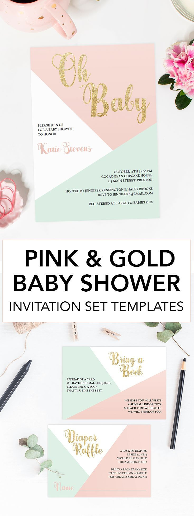Diy Baby Shower Invitations Kits  Pastel Baby Shower Invitation Kit Templates in 2019