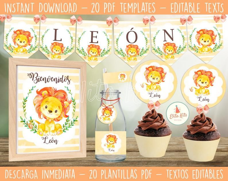 Diy Baby Shower Invitations Kits  Kit imprimible León Descarga Instantánea Textos Editables