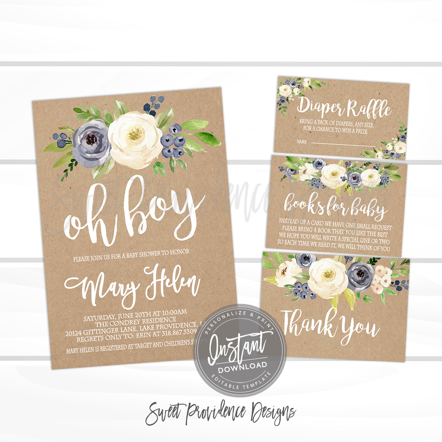 Diy Baby Shower Invitations Kits  Rustic Baby Shower Invitation Kit – Sweet Providence Designs